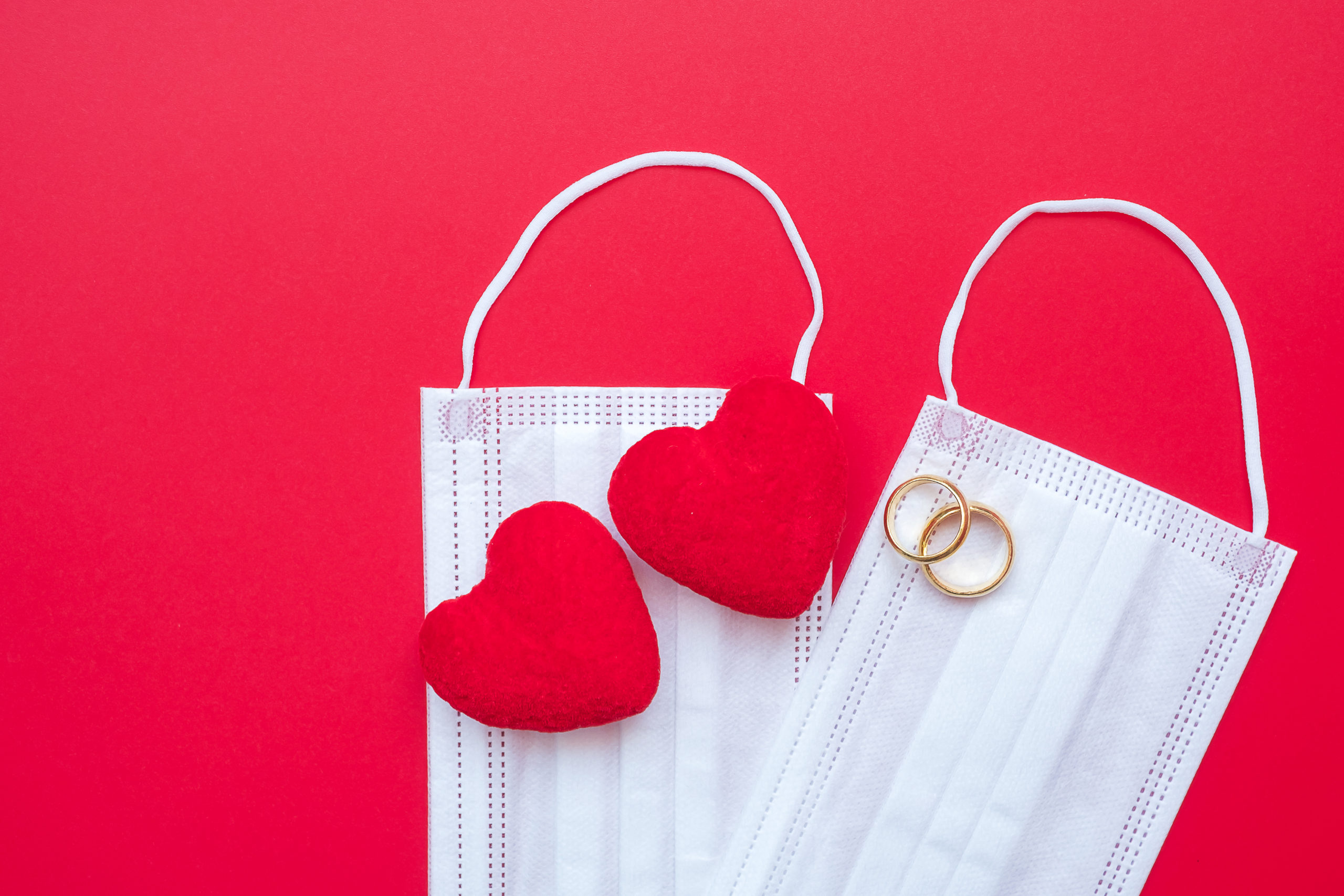 heart shape decoration, golden engagement ring and Medical face